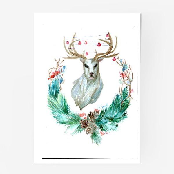Новогодние акварельные открытки олень, совершеннолетием открытка прикольная