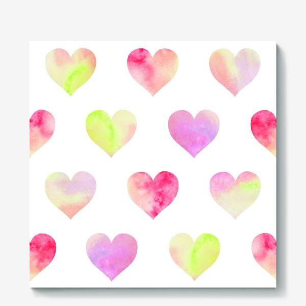 Холст «Паттерн из разноцветных сердец»