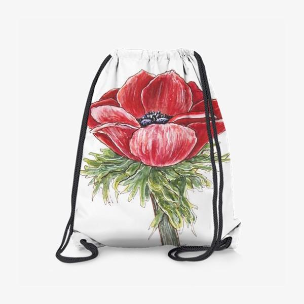 Рюкзак «ярко-красный анемон 2»