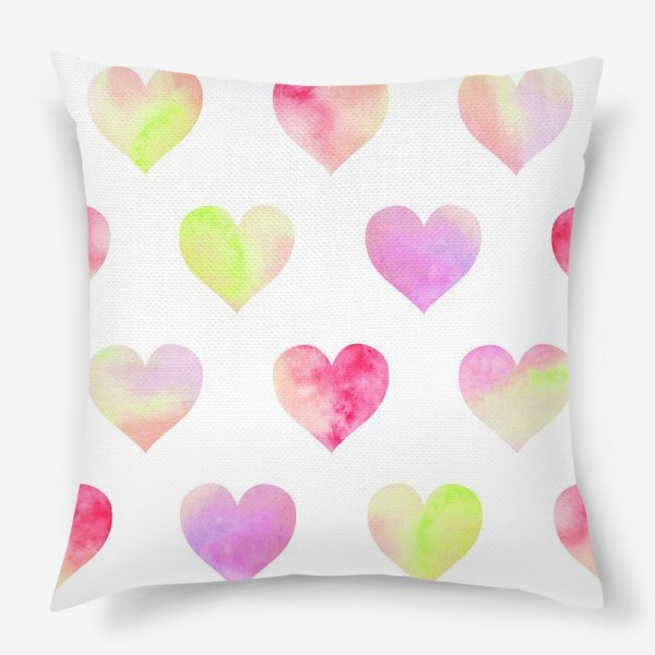 Подушка «Паттерн из разноцветных сердец»