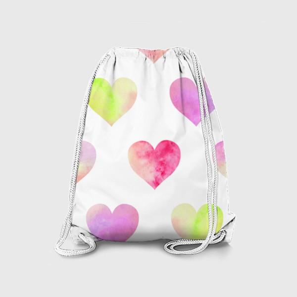 Рюкзак «Паттерн из разноцветных сердец»