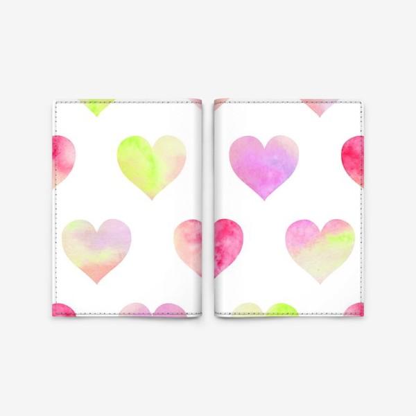 Обложка для паспорта «Паттерн из разноцветных сердец»
