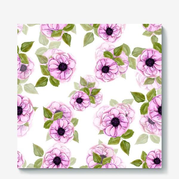 Холст «Розовые анемоны с зелеными листьями»