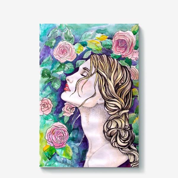 Холст «Дева с розами»