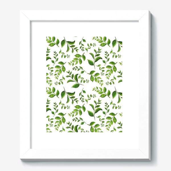 Картина «Паттерн с акварельными зелеными веточками»