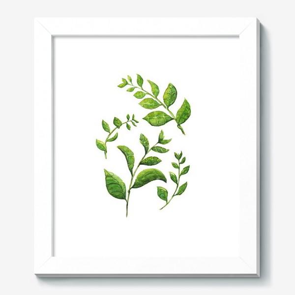 Картина «Акварельные зеленые веточки»