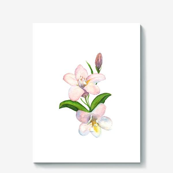 Холст «Акварельные Розовые цветы»