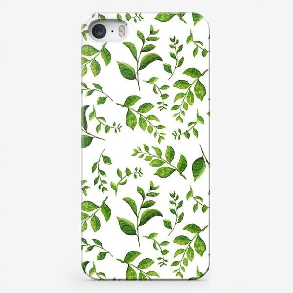 Чехол iPhone «Паттерн с акварельными зелеными веточками»