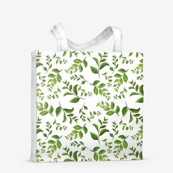 Сумка-шоппер «Паттерн с акварельными зелеными веточками»