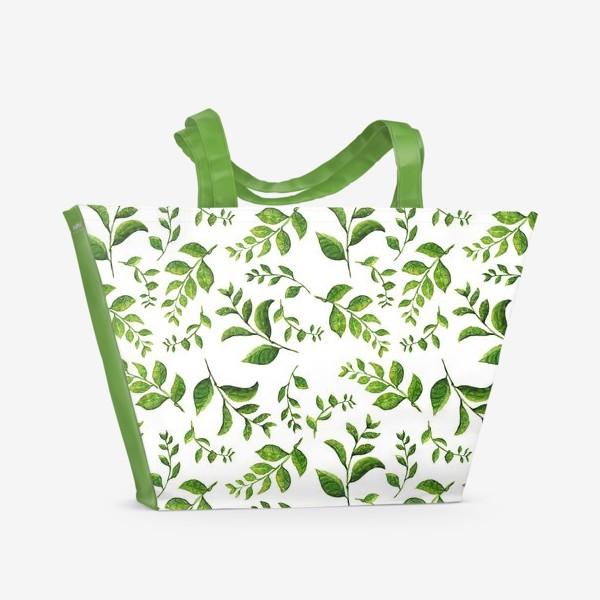 Пляжная сумка «Паттерн с акварельными зелеными веточками»