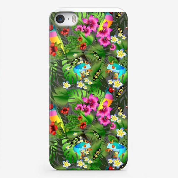 Чехол iPhone «Тропические цветы и птицы»