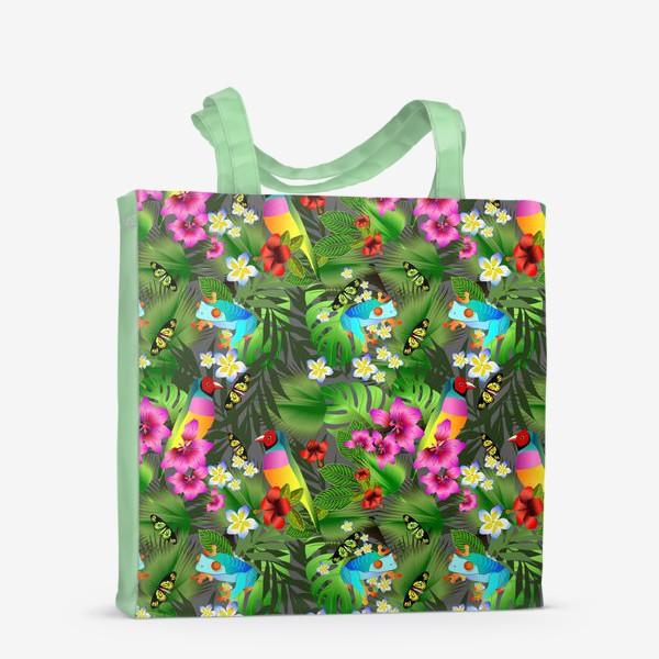 Сумка-шоппер «Тропические цветы и птицы»