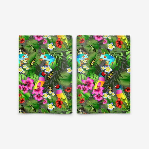 Обложка для паспорта «Тропические цветы и птицы»