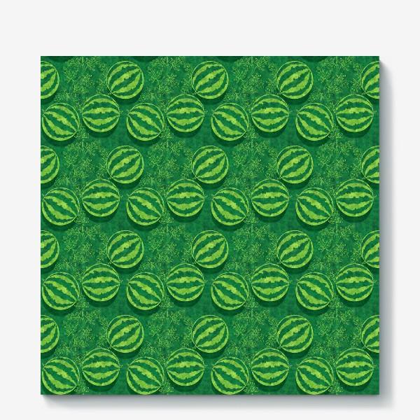 Холст «Зелёные арбузы в поле»