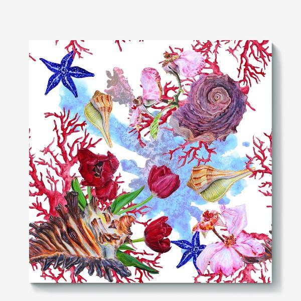 Холст «Кораллы, ракушки и цветы»