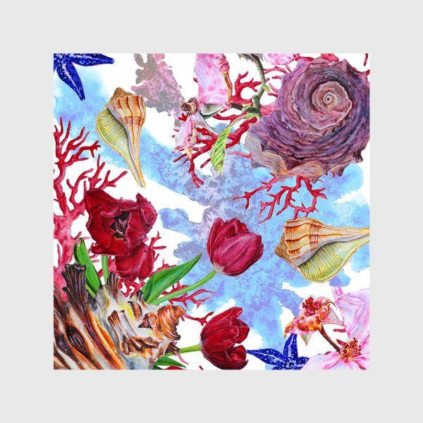 Шторы «Кораллы, ракушки и цветы»