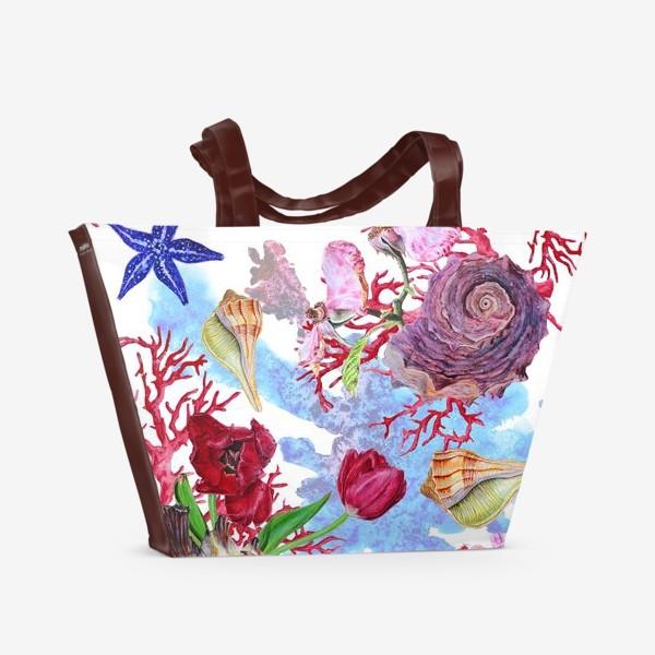 Пляжная сумка «Кораллы, ракушки и цветы»