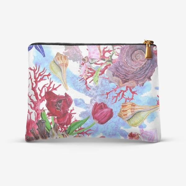 Косметичка «Кораллы, ракушки и цветы»