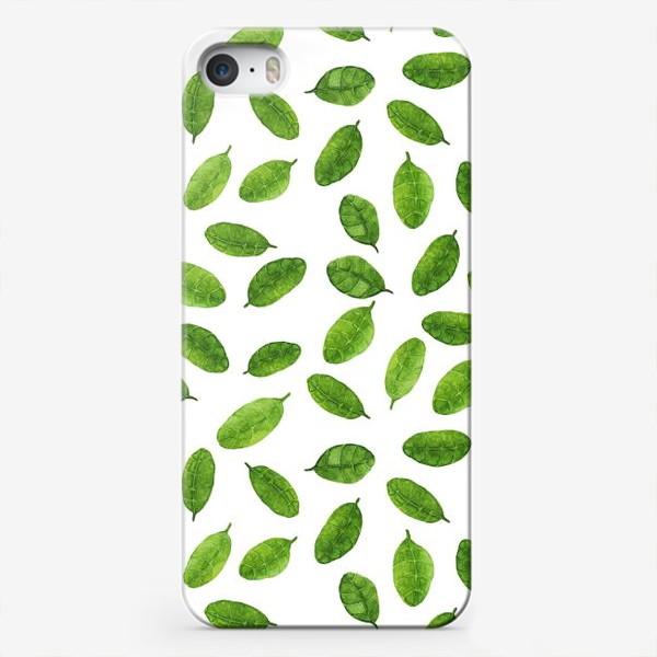 Чехол iPhone «Паттерн с акварельными листиками»