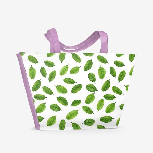 Пляжная сумка «Паттерн с акварельными листиками»