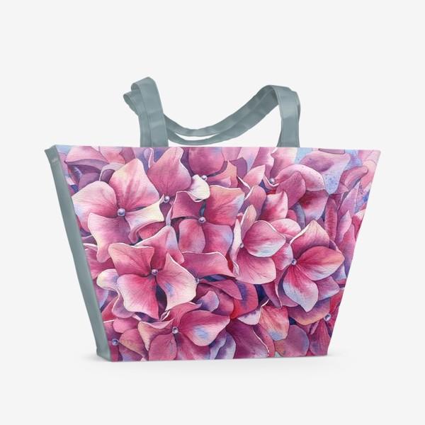Пляжная сумка « Розовая гортензия  »