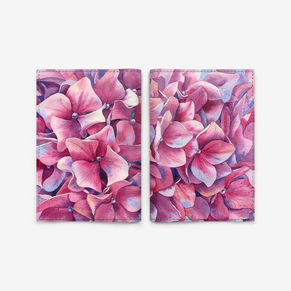 Обложка для паспорта « Розовая гортензия  »