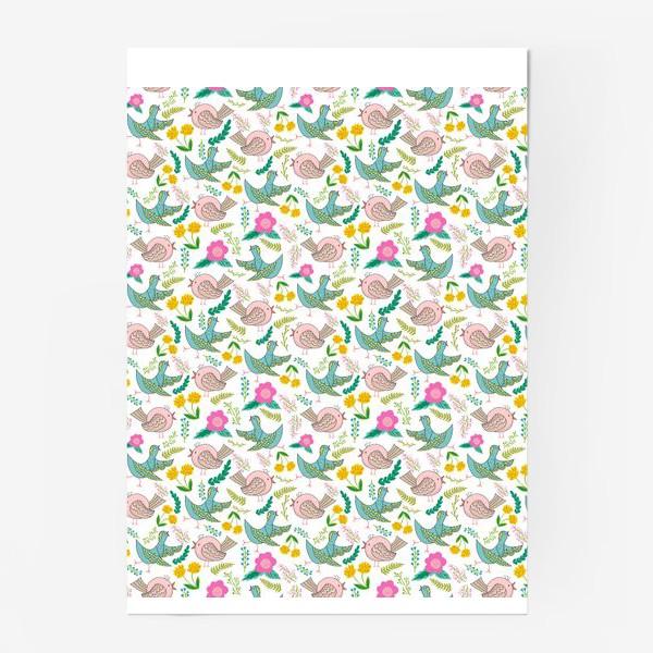 Постер «Птицы и цветы»