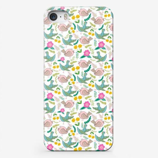 Чехол iPhone «Птицы и цветы»