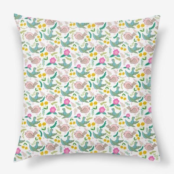 Подушка «Птицы и цветы»