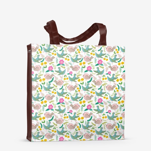 Сумка-шоппер «Птицы и цветы»