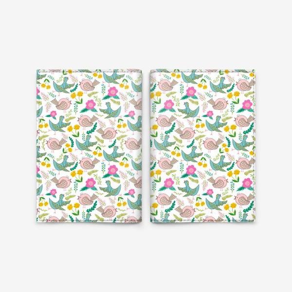 Обложка для паспорта «Птицы и цветы»