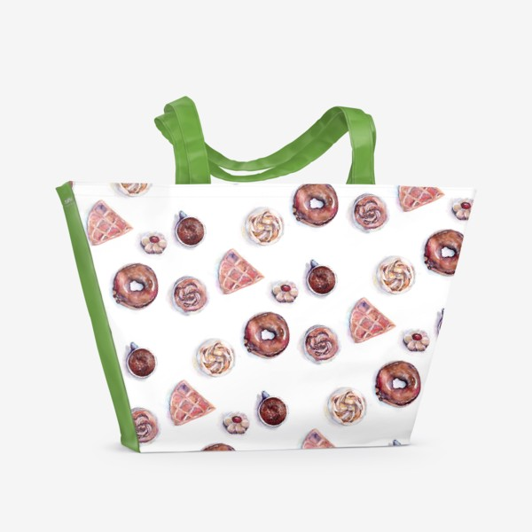 Пляжная сумка «Десерты, коричневая гамма»