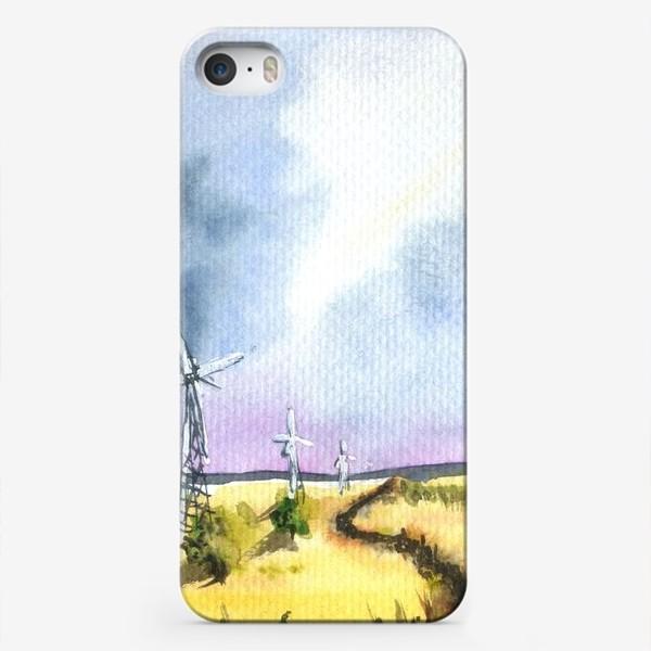 Чехол iPhone «Пейзаж с ветряными мельницами»