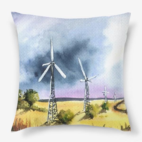Подушка «Пейзаж с ветряными мельницами»