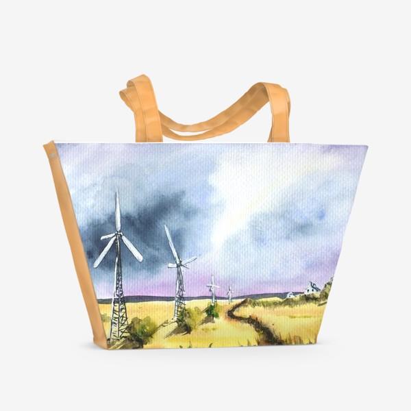 Пляжная сумка «Пейзаж с ветряными мельницами»