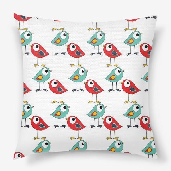 Подушка «Паттерн птицы»