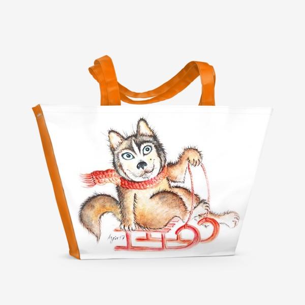 Пляжная сумка «Хаски. Салазки»