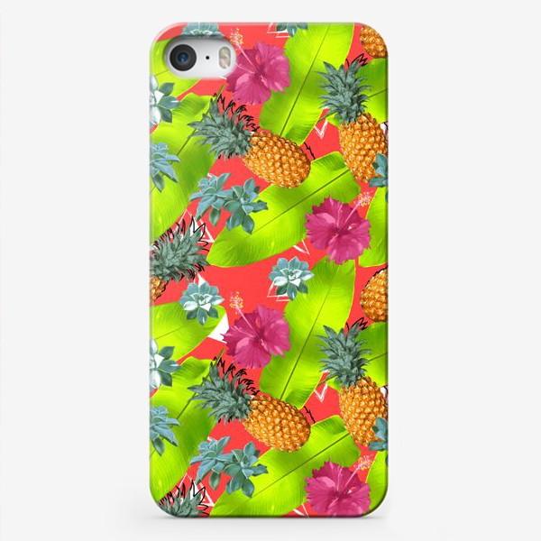 Чехол iPhone «Тропический узор с ананасами и цветами»