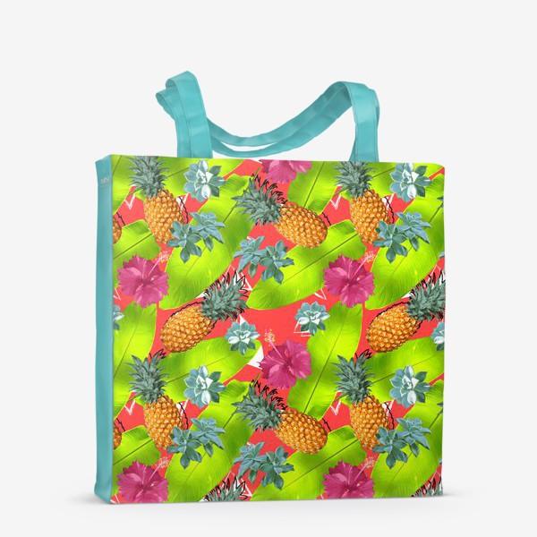 Сумка-шоппер «Тропический узор с ананасами и цветами»