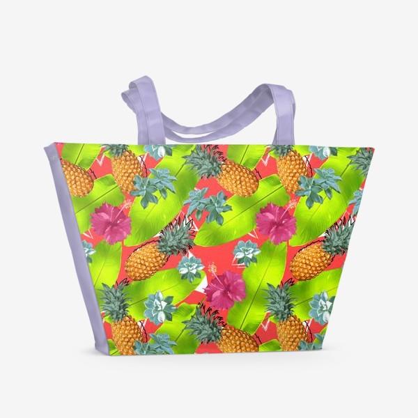 Пляжная сумка «Тропический узор с ананасами и цветами»