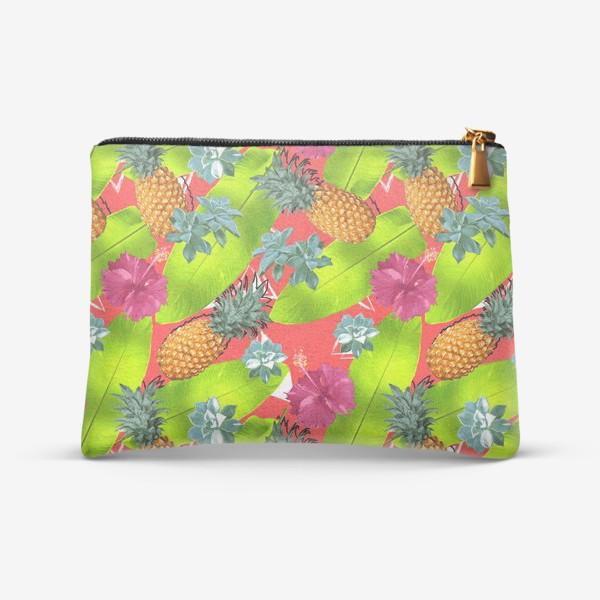 Косметичка «Тропический узор с ананасами и цветами»