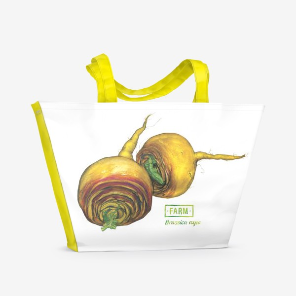 Пляжная сумка «Репа: ботаническая акварель и леттеринг»