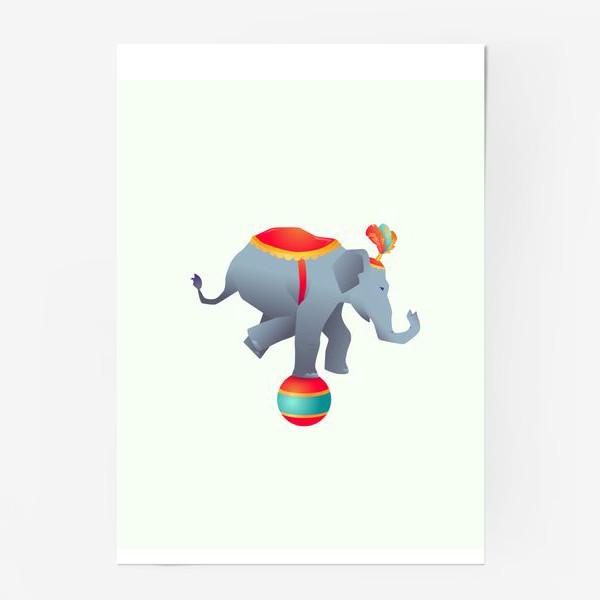 Постер «Цирковой слон на шаре»