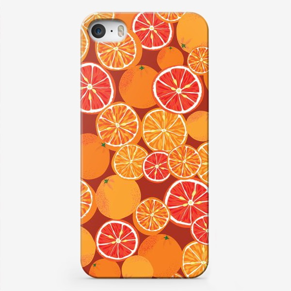 Чехол iPhone «Апельсины на красном»