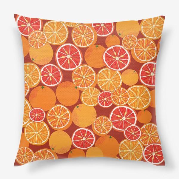 Подушка «Апельсины на красном»