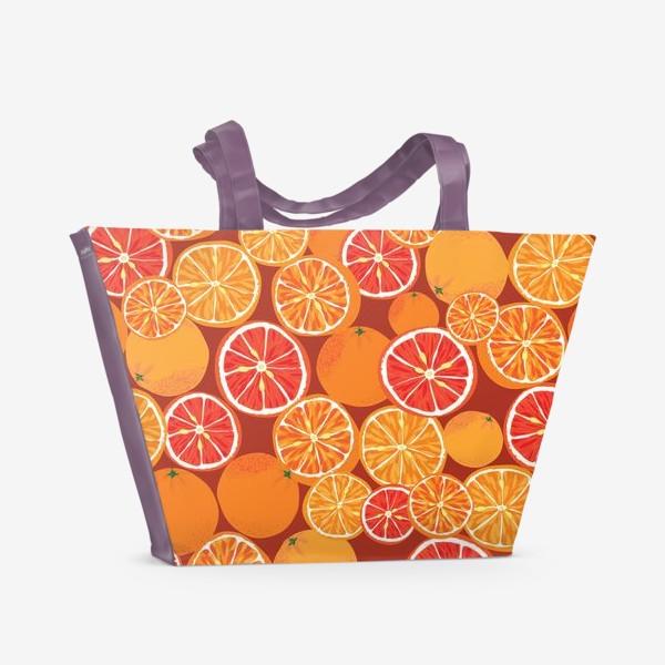 Пляжная сумка «Апельсины на красном»