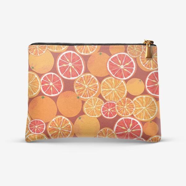 Косметичка «Апельсины на красном»