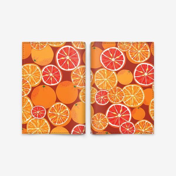 Обложка для паспорта «Апельсины на красном»