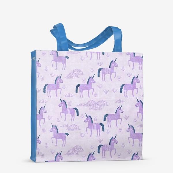 Сумка-шоппер «Единороги в лиловых облачках»