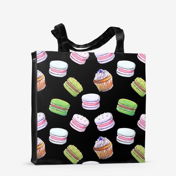 Сумка-шоппер «цветные макаруны и черничный капкейк на чёрном»